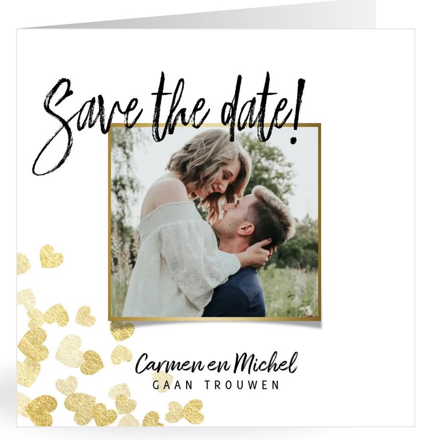 Save the date met gouden hartjes