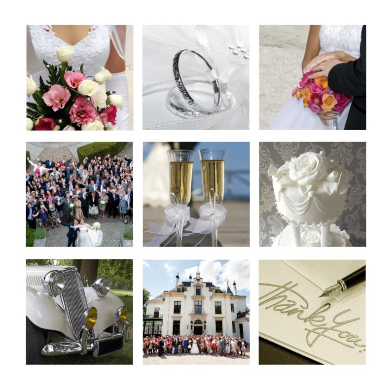 klassieke trouwkaart met foto's