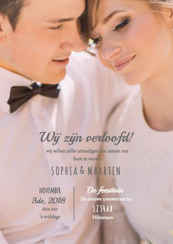 Uitnodiging voor het verlovingsfeest